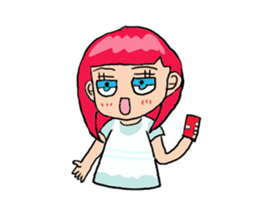 The female of the red hair which moves sticker #12552615