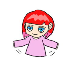The female of the red hair which moves sticker #12552618