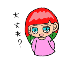 The female of the red hair which moves sticker #12552622