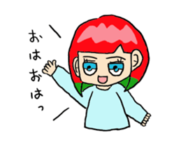 The female of the red hair which moves sticker #12552623