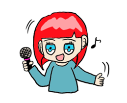 The female of the red hair which moves sticker #12552624