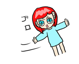 The female of the red hair which moves sticker #12552625