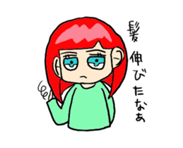The female of the red hair which moves sticker #12552626