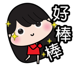 Girl in red dress sticker #12553431