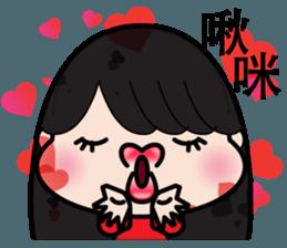 Girl in red dress sticker #12553433