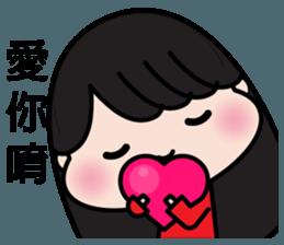 Girl in red dress sticker #12553435
