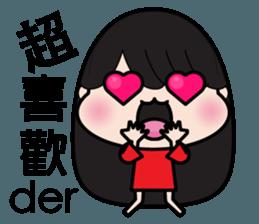 Girl in red dress sticker #12553440