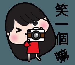 Girl in red dress sticker #12553442