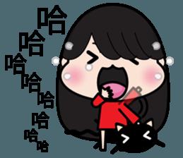 Girl in red dress sticker #12553446