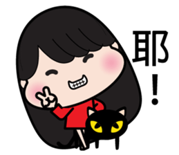 Girl in red dress sticker #12553448