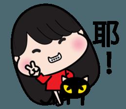 Girl in red dress sticker #12553448