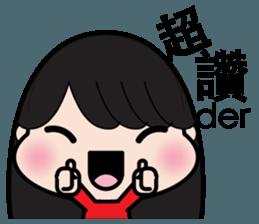 Girl in red dress sticker #12553450