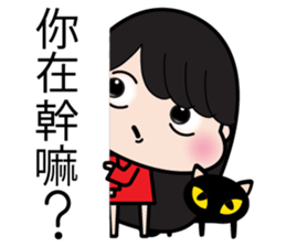 Girl in red dress sticker #12553453