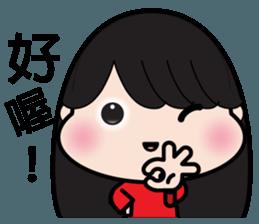 Girl in red dress sticker #12553456