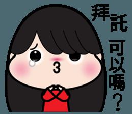 Girl in red dress sticker #12553459