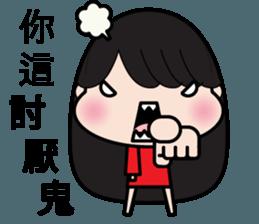 Girl in red dress sticker #12553462