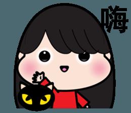 Girl in red dress sticker #12553465