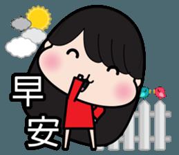 Girl in red dress sticker #12553466
