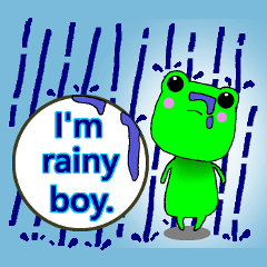 Cute frog with umbrella.