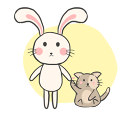 Rabbit and Cat in Love. + sticker #12587238