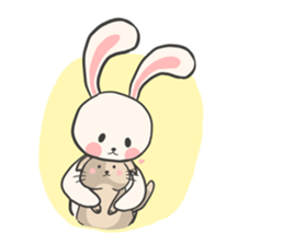 Rabbit and Cat in Love. + sticker #12587242