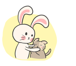 Rabbit and Cat in Love. + sticker #12587244