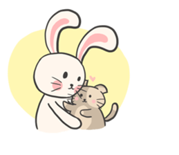 Rabbit and Cat in Love. + sticker #12587248