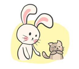 Rabbit and Cat in Love. + sticker #12587251