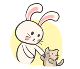 Rabbit and Cat in Love. + sticker #12587255
