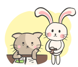 Rabbit and Cat in Love. + sticker #12587260