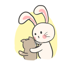 Rabbit and Cat in Love. + sticker #12587265