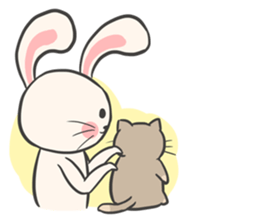 Rabbit and Cat in Love. + sticker #12587270