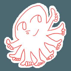 Eight thumbs up Octopus