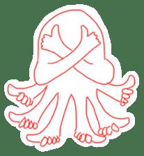 Eight thumbs up Octopus sticker #12598942