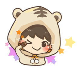 Pajamas little boy sticker #12643663