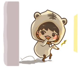Pajamas little boy sticker #12643691