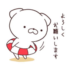 Daily Lives of cute white dog in summer sticker #12762412