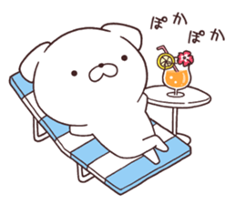 Daily Lives of cute white dog in summer sticker #12762419