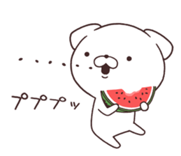 Daily Lives of cute white dog in summer sticker #12762431