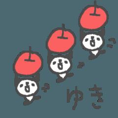 Yuki cute apple panda stickers!
