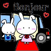 สติ๊กเกอร์ไลน์ Lady rabbit (French)