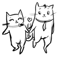 Cute cats in sketches (N.4) by trikono sticker #12997513