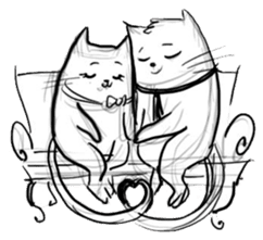 Cute cats in sketches (N.4) by trikono sticker #12997520