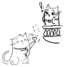 Cute cats in sketches (N.4) by trikono sticker #12997527