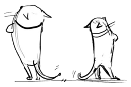 Cute cats in sketches (N.4) by trikono sticker #12997532