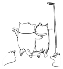Cute cats in sketches (N.4) by trikono sticker #12997538