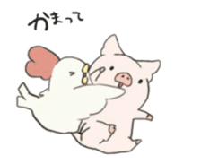 moving pig Sticker sticker #13002127