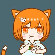 สติ๊กเกอร์ไลน์ Xiao A Ju orange cat