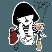 สติ๊กเกอร์ไลน์ Linda Bobgirl Vol.1 Striped T-shirt
