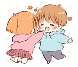 Sticker of a boy and a girl(Boys side) sticker #13055274